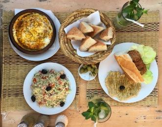Berber Omelett + Tabouli + Falafel Sandwich